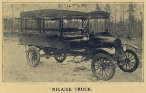 Necaise school bus in 1918-1919, Kiln High School